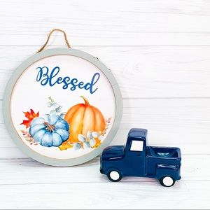 Fall blessed sign and blue pickup truck tray decor